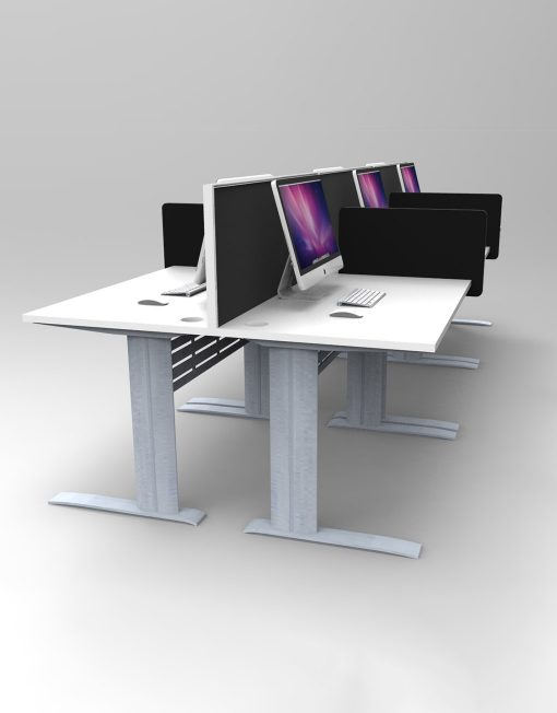 6 Person Back To Back Workstations - Desk Mount Screens