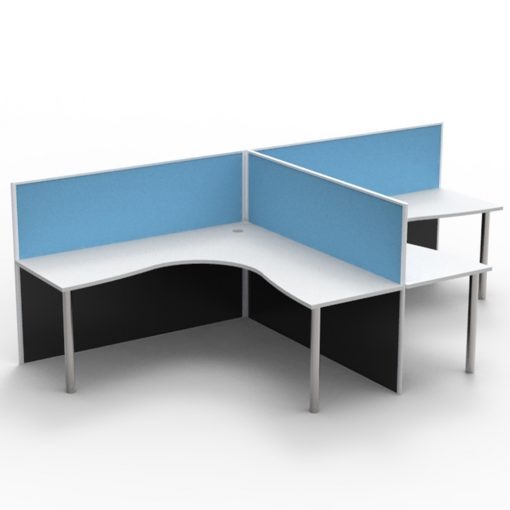 2 Person Corner Workstation Pod - Screen Hung Tops