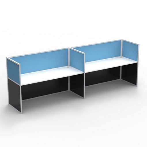 2 Person Side-By-Side Workstation - Screen Hung Tops