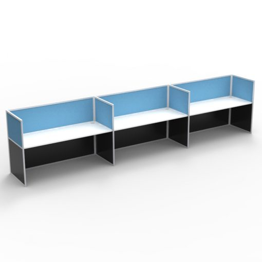 3 Person Side-By-Side Workstation - Screen Hung Tops