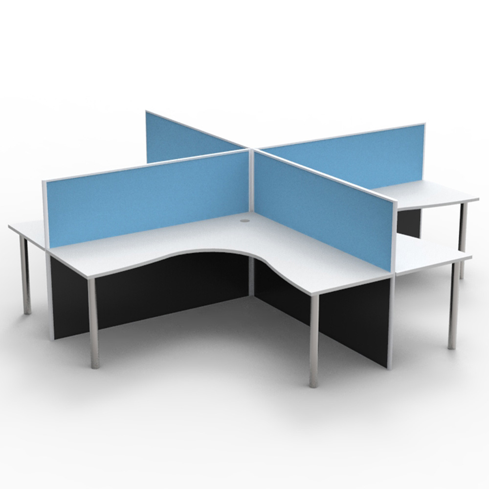 Office Table For 4 Person: 4 Person Screen Hung Top Corner Workstation Pod