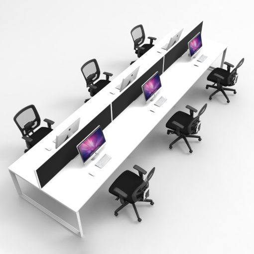 Rapid Infinity Loop Leg Back to Back 6 Person Workstation & Screens 2