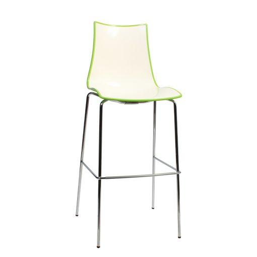 Zebra stool chrome green