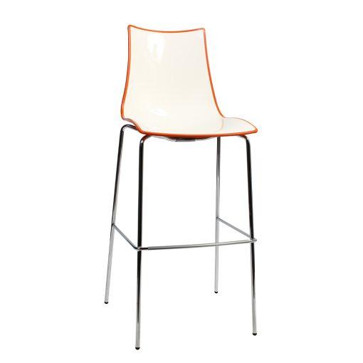 Zebra stool chrome orange