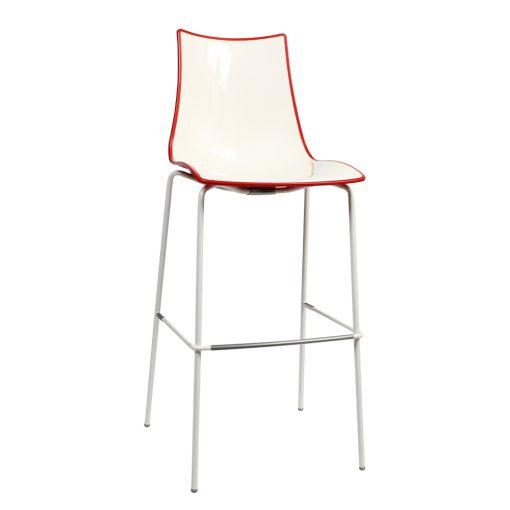Zebra stool white red