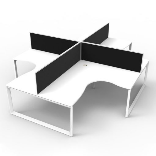 Deluxe Infinity 4 Person Corner Workstation - loop white white