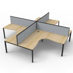 Deluxe Infinity 4 Person Corner Workstation - profile oak black