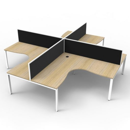 Deluxe Infinity 4 Person Corner Workstation - profile oak white