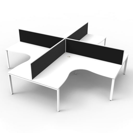 Deluxe Infinity 4 Person Corner Workstation - profile white white