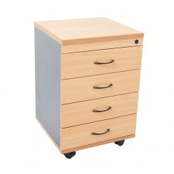 Epic Worker 4 Drawer Mobile Pedestal Beech