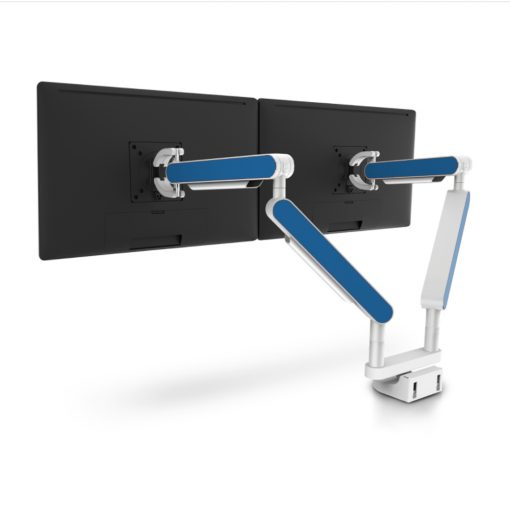 Zgo Dual Monitor Arm White Blue