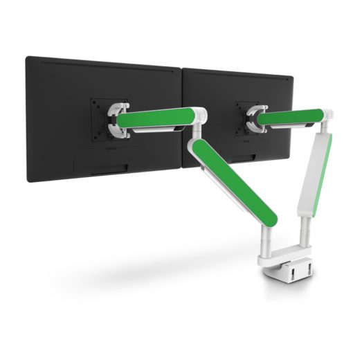 Zgo Dual Monitor Arm White Green