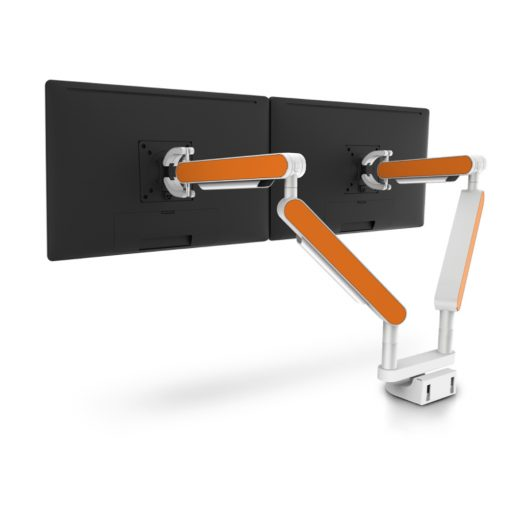 Zgo Dual Monitor Arm White Orange
