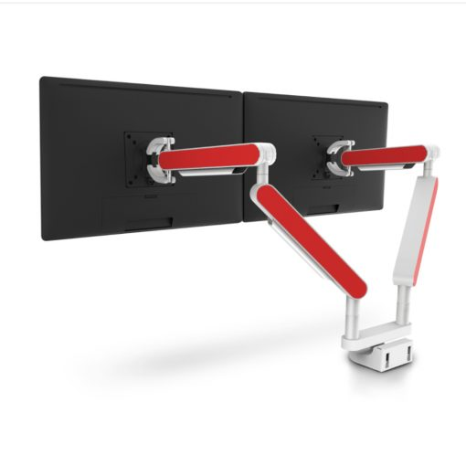 Zgo Dual Monitor Arm White Red