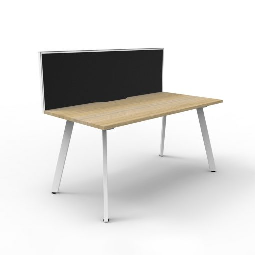 Eternity 1P Workstation with screen Oak White