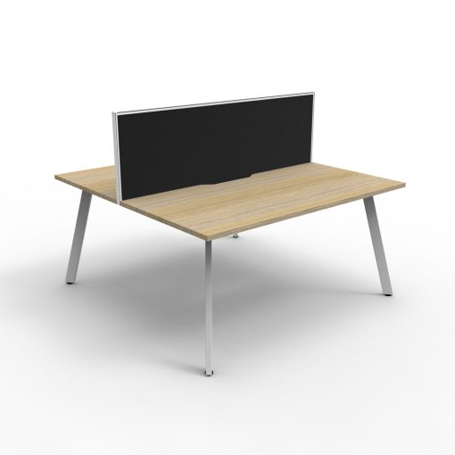 Eternity B2B 2P Workstation with screen Oak White