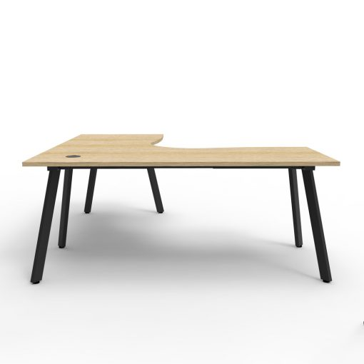 Eternity Single Person Corner Desk Oak Black 2