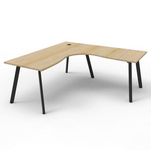 Eternity Single Person Corner Desk Oak Black