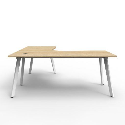 Eternity Single Person Corner Desk Oak White 2