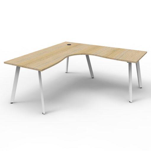 Eternity Single Person Corner Desk Oak White