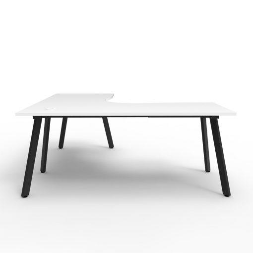 Eternity Single Person Corner Desk White Black 2