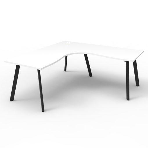 Eternity Single Person Corner Desk White Black